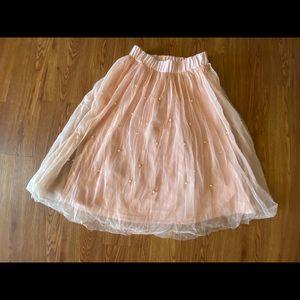 Tulle pearl skirt